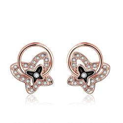 Vienna Jewelry 18K Rose Gold Mini Butterfly Earrings Made with Swarovksi Elements