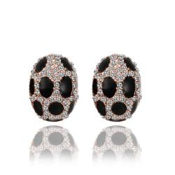 Vienna Jewelry 18K Rose Gold Oval Stud Earrings with Onyx Gems Made with Swarovksi Elements - Thumbnail 0