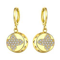 Gold Plated Mini Cross Circular Drop Earrings - Thumbnail 0