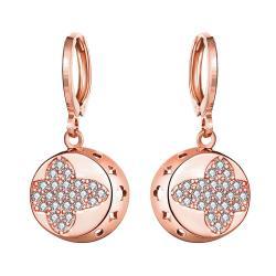 Rose Gold Plated Mini Cross Circular Drop Earrings - Thumbnail 0