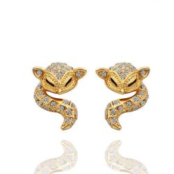 Vienna Jewelry 18K Gold Spiral Cat Drop Down Earrings Made with Swarovksi Elements - Thumbnail 0