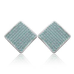 Vienna Jewelry 18K White Gold Square Studs with Saphire Jewels Made with Swarovksi Elements - Thumbnail 0