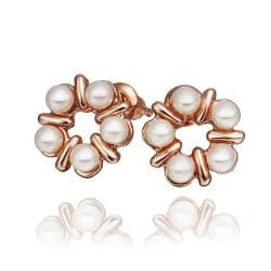 Vienna Jewelry 18K Rose Gold Five Pearls Stud Earrings Made with Swarovksi Elements - Thumbnail 0