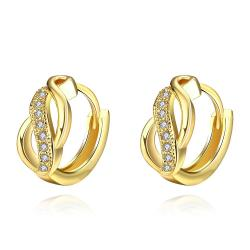 Vienna Jewelry Gold Plated Infinity Pendant Mini Hoops - Thumbnail 0