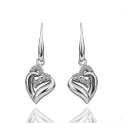 Vienna Jewelry Drop Down White Gold Classic Earrings Made with Swarovksi Elements - Thumbnail 0