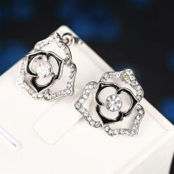 Vienna Jewelry 18K White Gold Hollow Floral Earrings Made with Swarovksi Elements - Thumbnail 0