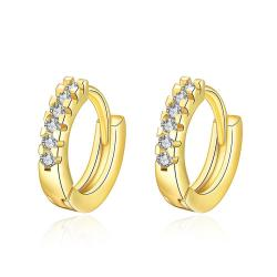 Vienna Jewelry Gold Plated Petite Jewels Covering Hoop Earrings - Thumbnail 0