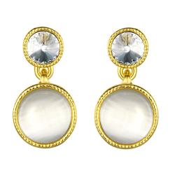 Vienna Jewelry 18K Gold Double Pearls Drop Earrings Made with Swarovksi Elements - Thumbnail 0