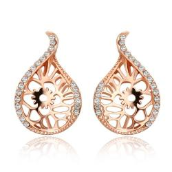 Vienna Jewelry 18K Rose Gold Laser Cut Abstract Emblem Studs Made with Swarovksi Elements - Thumbnail 0