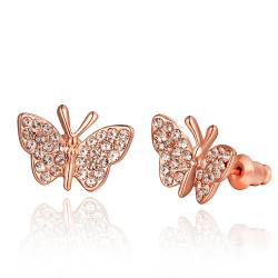Vienna Jewelry 18K Rose Gold Flying Butterfly Stud Earrings Made with Swarovksi Elements - Thumbnail 0