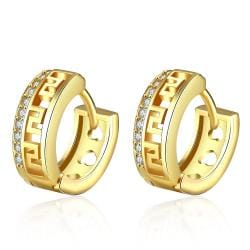 Vienna Jewelry Gold Plated Laser Cut Ingrain Hoops