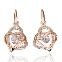Vienna Jewelry 18K Rose Gold Double Hearts Earrings Made with Swarovksi Elements