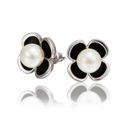 Vienna Jewelry 18K White Gold Rose Petals Stud Earrings with Peral Center Made with Swarovksi Elements - Thumbnail 0
