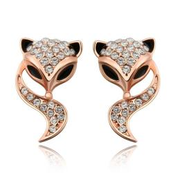 Vienna Jewelry 18K Rose Gold Swirl Kitty Cat Earrings Made with Swarovksi Elements