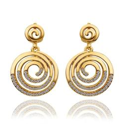 Vienna Jewelry 18K Gold Circle Swirls Stud Earrings Made with Swarovksi Elements