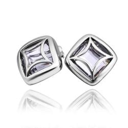 Vienna Jewelry 18K White Gold Square Stud Earrings Made with Swarovksi Elements - Thumbnail 0