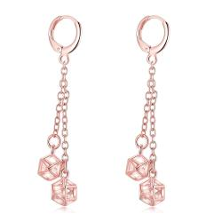Rose Gold Plated Snowflake Dangling Drop Earrings