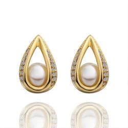 Vienna Jewelry 18K Gold Hollow Acorn With Pearl Earrings Made with Swarovksi Elements - Thumbnail 0