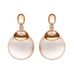 Vienna Jewelry 18K Rose Gold Drop Down Earrings with Pearl Drop Made with Swarovksi Elements - Thumbnail 0