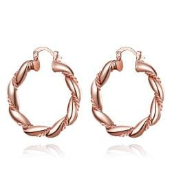 Vienna Jewelry Rose Gold Plated Polished Small Hinged Hoop Earrings