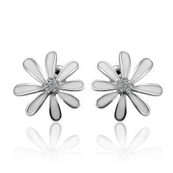 Vienna Jewelry 18K White Gold Floral Petal Studs with Ivory Covering Made with Swarovksi Elements - Thumbnail 0