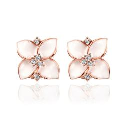 Vienna Jewelry 18K Rose Gold Classic Ivory Rose Petal Earrings Made with Swarovksi Elements - Thumbnail 0