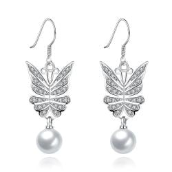Vienna Jewelry White Gold Wings of an Angel Drop Down Earrings - Thumbnail 0