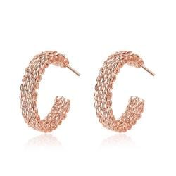 Vienna Jewelry Rose Gold Plated Mesh Overlay Mini Hoop Earrings - Thumbnail 0