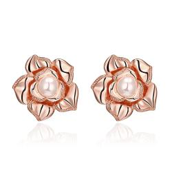 Vienna Jewelry 18K Rose Gold Blossoming Petal Stud Earrings Made with Swarovksi Elements
