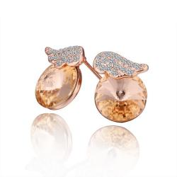 Vienna Jewelry 18K Rose Gold Mini Wings Earrings Made with Swarovksi Elements - Thumbnail 0