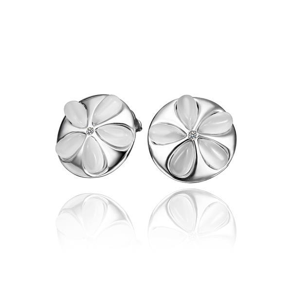 Vienna Jewelry 18K White Gold Ivory Floral Stud Earrings Made with Swarovksi Elements