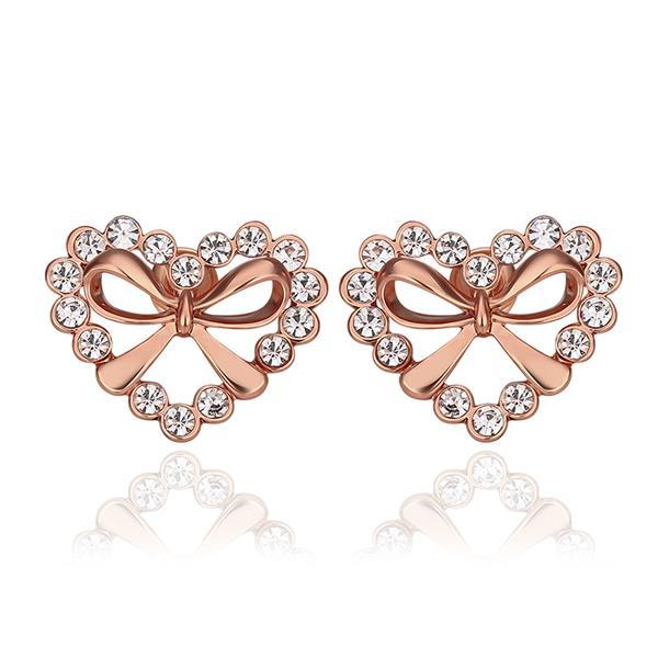 Vienna Jewelry 18K Rose Gold Hollow Hearts Covered with Crystals Studs Made with Swarovksi Elements