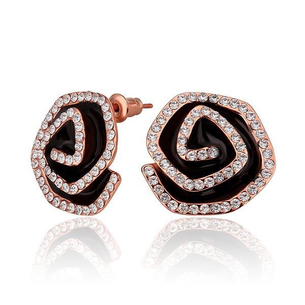 Vienna Jewelry 18K Rose Gold Angle Swirls Studs Made with Swarovksi Elements