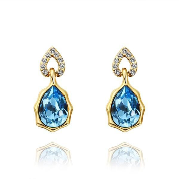 Vienna Jewelry 18K Gold Saphire Gem Stud Earrings Made with Swarovksi Elements