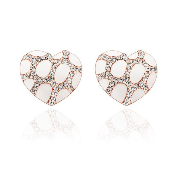 Vienna Jewelry 18K Rose Gold Heart Shaped Ivory Gem Stud Earrings Made with Swarovksi Elements