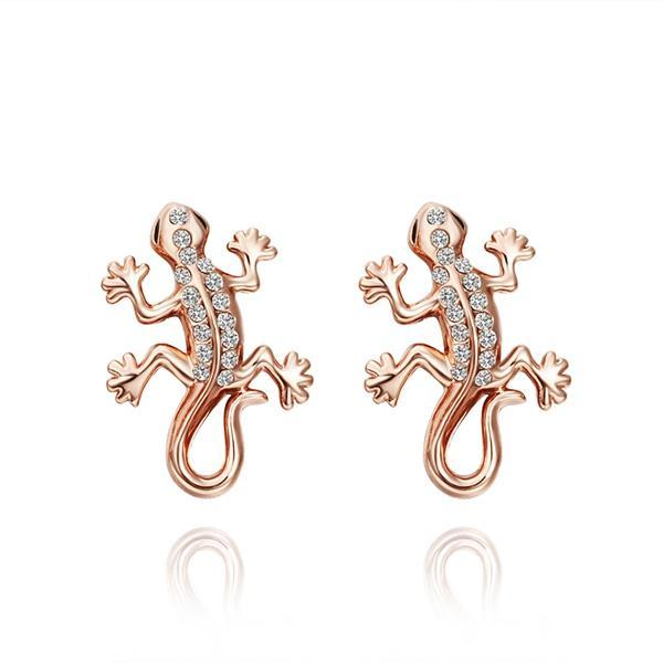 Vienna Jewelry 18K Rose Gold Salamander Stud Earrings Made with Swarovksi Elements