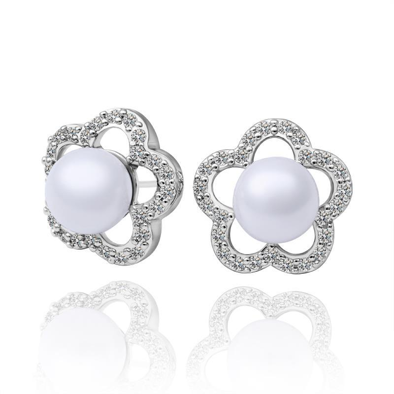 Vienna Jewelry 18K White Gold Starfish Earrings with Pearl Gem Made with Swarovksi Elements