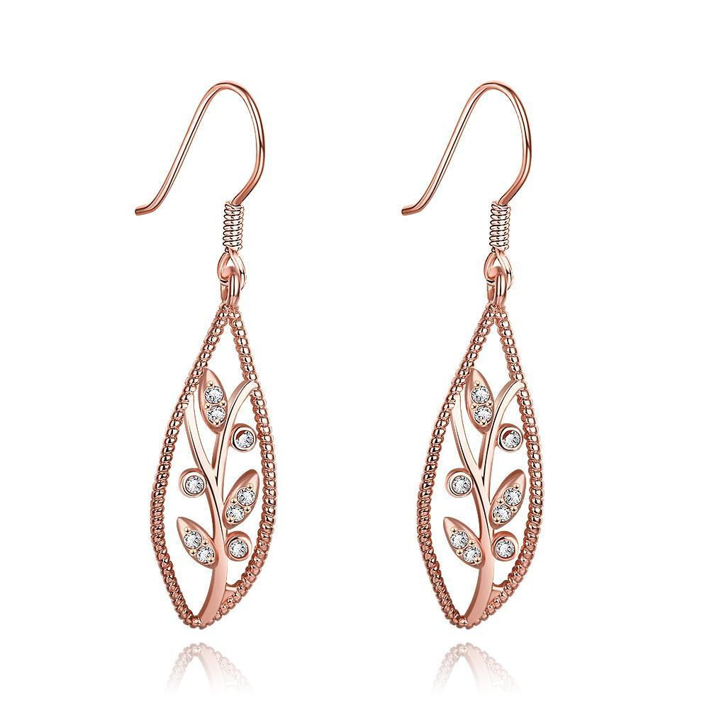 Vienna Jewelry Rose Gold Plated Olive Branch Drop Down Earrings