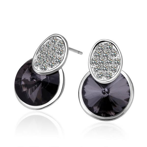 Vienna Jewelry 18K White Gold Onyx Gem Studded Earrings Made with Swarovksi Elements