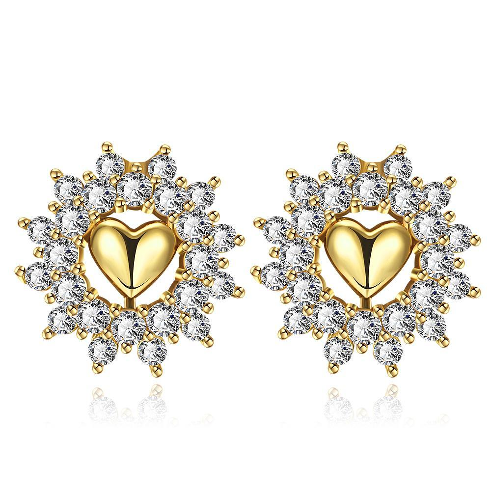 Vienna Jewelry Gold Plated Floral Petal Jewels Covered Studs