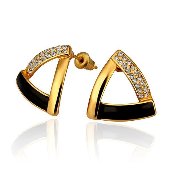 Vienna Jewelry 18K Gold Triangular Studs with Onyx Coverings Earrings Made with Swarovksi Elements