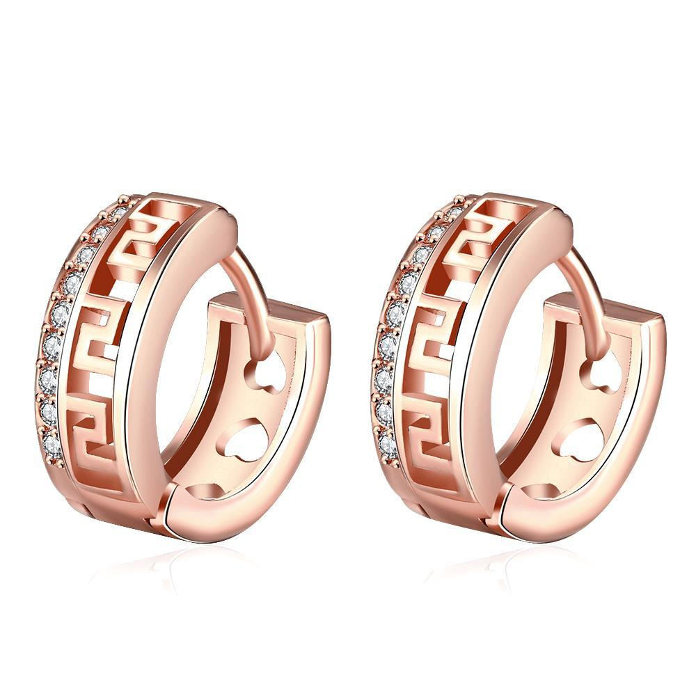 Vienna Jewelry Rose Gold Plated Laser Cut Ingrain Hoops