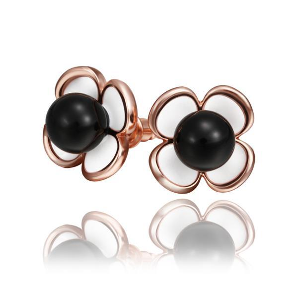 Vienna Jewelry 18K Rose Gold Rose Petals Stud Earrings with Onyx Center Made with Swarovksi Elements