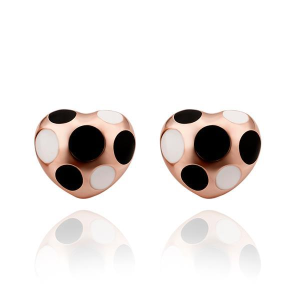 Vienna Jewelry 18K Rose Gold Mini Heart Shaped Ivory & Onyx Gems Earrings Made with Swarovksi Elements
