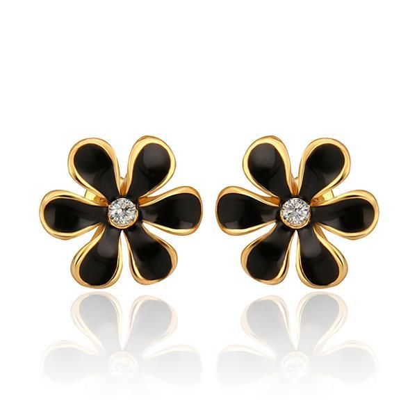 Vienna Jewelry 18K Gold Onyx Floral Petal Stud Earrings Made with Swarovksi Elements