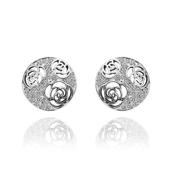 Vienna Jewelry 18K White Gold Laser Cut Stud Earrings Made with Swarovksi Elements