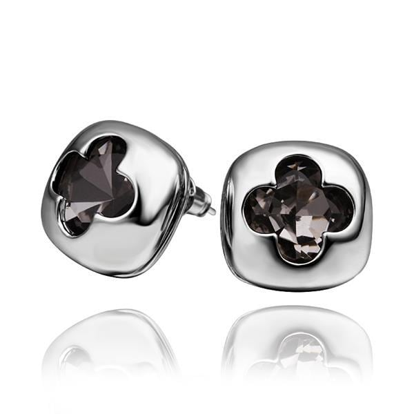 Vienna Jewelry 18K White Gold Stud Earrings with Hollow Clover Shape Made with Swarovksi Elements