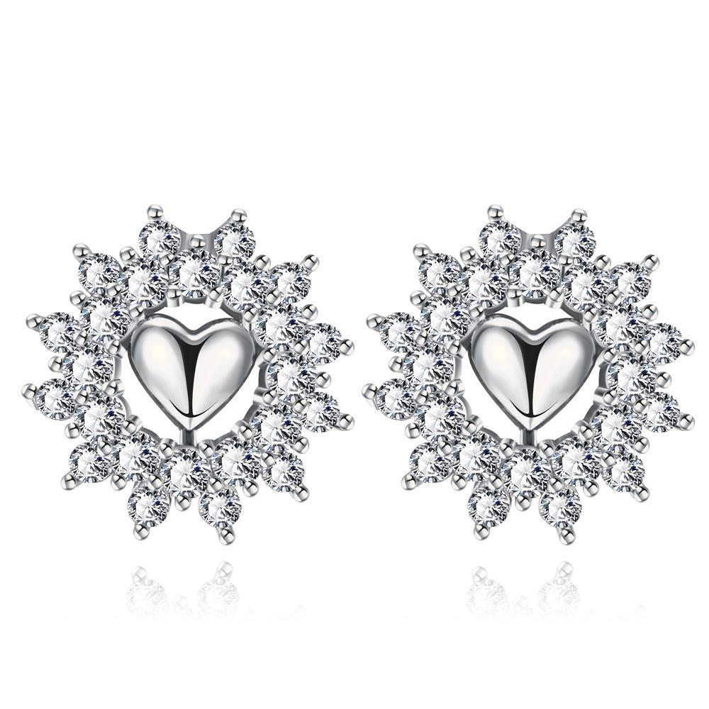 Vienna Jewelry White Gold Plated Floral Petal Jewels Covered Studs