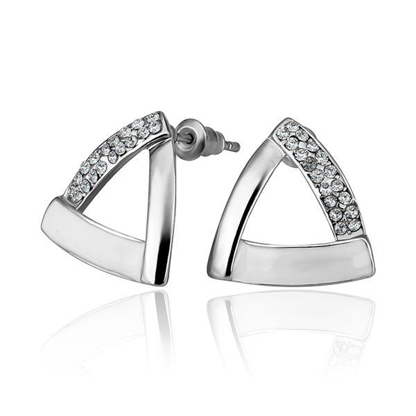 Vienna Jewelry 18K White Gold Triangular Studs with Ivory Coverings Earrings Made with Swarovksi Elements