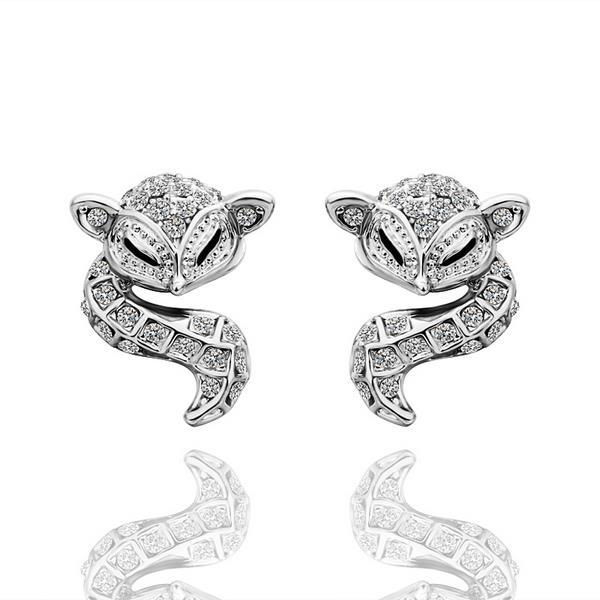 Vienna Jewelry 18K White Gold Spiral Cat Drop Down Earrings Made with Swarovksi Elements